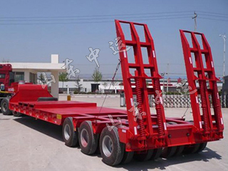 3 Axles 60T Low Bed Semi Trailers For Excavator Transportation